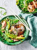 Buckwheat Soba Noodles and Miso Salmon