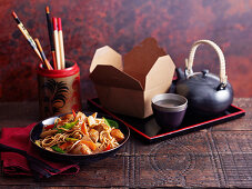 Chicken chow mein and tea (China)