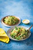 Slow-roasted garlic, pea and lettuce spaghetti