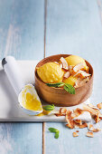 Tropical fruit sorbet with toasted coconut