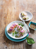 Vietnamese rice paper rolls with nuoc cham