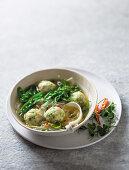 Asian fish dumpling soup