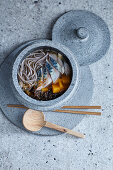 Dashi soba noodle soup with mackerel