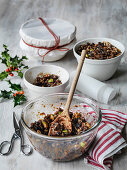 Making a Classic British Christmas pudding using dry fruit and mince meat