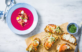 Beetroot and cucumber gazpacho with salmon, Smoked salmon bruschetta with apple