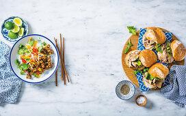 Southeast Asian pork and brinjal stir-fry, Italian porchetta on rolls