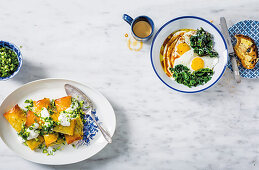 Swiss chard parcels with whipped feta and cucumber salsa, Sumac and garlic Swiss chard with eggs
