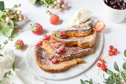 French toast with jam and strawberries