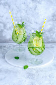 Detox cocktail with cucumber and lemon