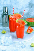 Summer refreshing fresh juice from ripe pulp of watermelon with ice