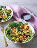 Caramelised apple, fig and nut salad