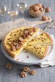 Apple rice cake with vanilla cream and caramelised walnuts