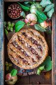 Apple hazelnut pie with honey