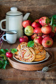 Apple cookies with cottage cheese dough and apple almond filling