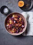 Apple and red cabbage salad with bacon