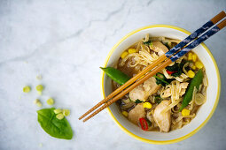 Oriental noodle soup with chicken and vegetables (seen from above)