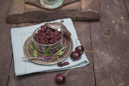 Dried and fresh cherries