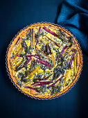 Polenta quiche with chard and kale