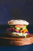 Vegan sushi 'burger buns' with smoked yellow pepper and wasabi soy dip