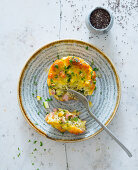 Courgette and ham fritter with chia seeds