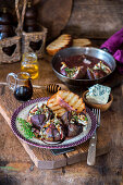 Baked balsamic figs with honey and blue cheese