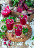 Beetroot and raspberry smoothies