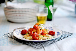Blinis with crayfish and cream cheese