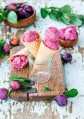 Roasted plum ice cream