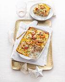 Prawn and scallop lasagne