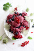 Berry sorbet with elderflowers