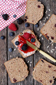 Fruit bread with jam and berries
