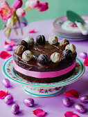 Easter Chocolate cake with truffles and easter eggs