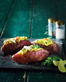 Mexican sweet potatoes with avocado, chillies and cottage cheese