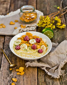 Breakfast millet with fruits and cornflakes