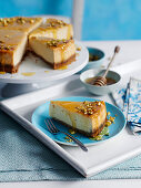 Maple Cheesecake with pistachios