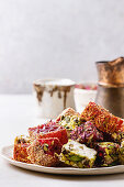 Turkish Delight different taste and colors rose petals and pistachio nuts