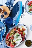 Greek tomato & feta salad with soy-roasted pumpkin seeds