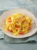 Pappardelle with smoked salmon and lime