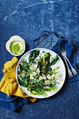 Spinach, olive and feta salad with oregano salsa verde