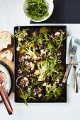 Roasted mushrooms with sage and feta lentils