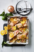 Easy salmon, fennel and olive tray bake with oranges