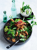 Hot duck Maryland jungle curry with thai eggplants