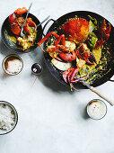 Mud crab curry mit coconut milk and tamarind