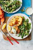 Chicken with tandoori clautiflower and herb sauce
