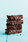 Crunchy chocolate bars, stacked