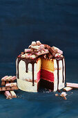Neapolitan Kitkat layer cake, sliced