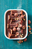 Nutella pudding with chocolate hazelnut pralines