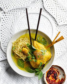Chicken soup with lemongrass and noodles (Asia)