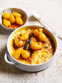 Baked saffron kheer with saffron and vanilla pears