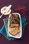 Salmon terrine with chard, almonds, lemon and fresh herbs